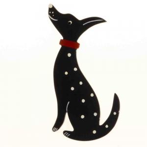 broche chien dalmatien noir