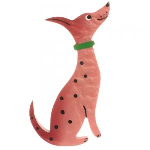 broche chien dalmatien rose buvard