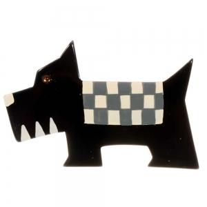broche chien damier noir 1
