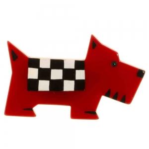 broche chien damier rouge