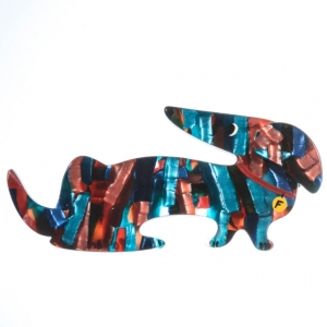broche chien fifi chamare roux turquoise