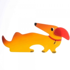 broche chien fifi jaune