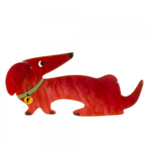broche chien fifi rouge