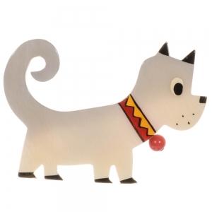 broche chien grelot blanc 2