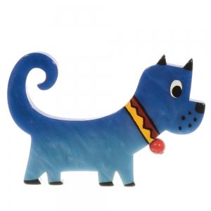 broche chien grelot bleu 1