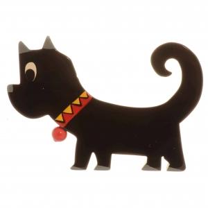 broche chien grelot noir