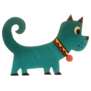 broche chien grelot turquoise