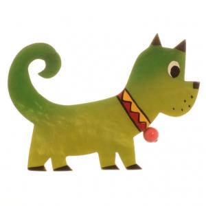 broche chien grelot vert 2