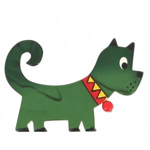 broche chien grelot vert 3
