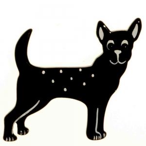 broche chien honoro noir