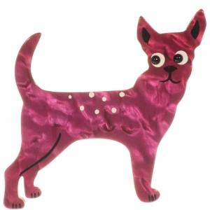 broche chien honoro rose