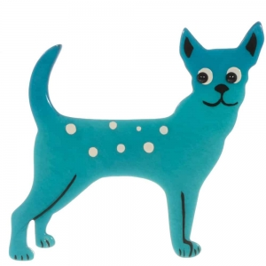 broche chien honoro turquoise