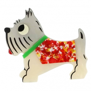 broche chien jano blanc points rouge