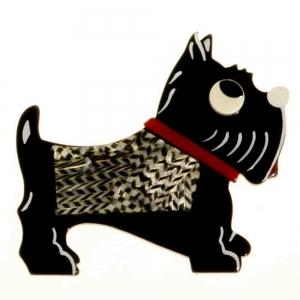 broche chien jano noir damier