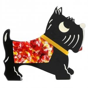broche chien jano noir points rouge