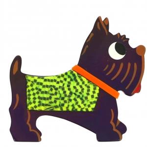 broche chien jano violet damier