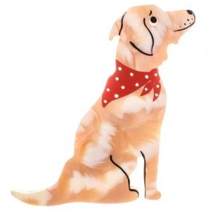 broche chien labrador blanc beige