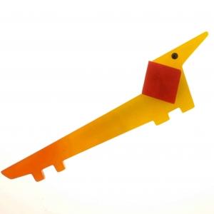 broche chien lola jaune
