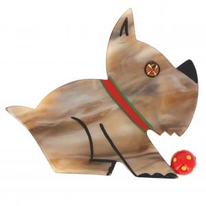 broche chien lulu beige