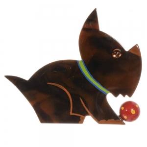 broche chien lulu ecaille
