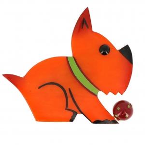 broche chien lulu orange