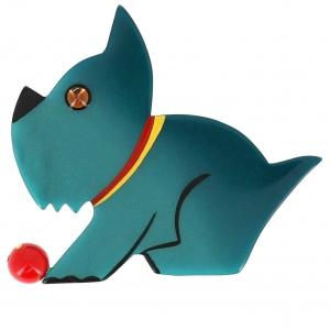 broche chien lulu vert bleute