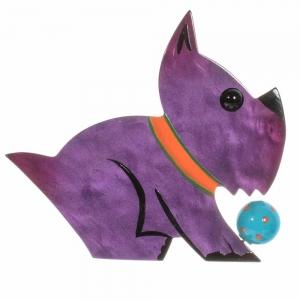 broche chien lulu violet