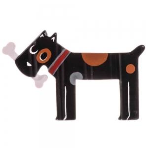 broche chien milou noir