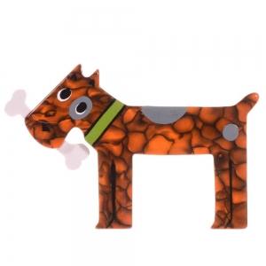 broche chien milou orange marbre