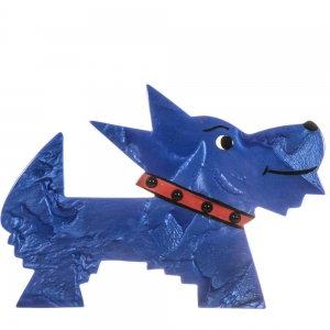 broche chien muso bleu