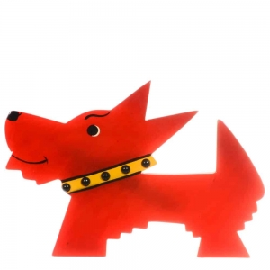 broche chien muso rouge