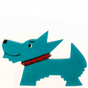 broche chien muso turquoise
