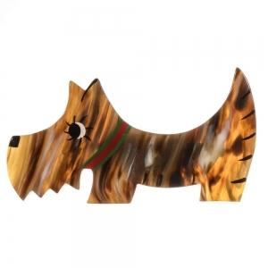 broche chien raoul corne