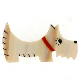 broche chien raoul ecru