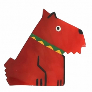 broche chien ric rouge