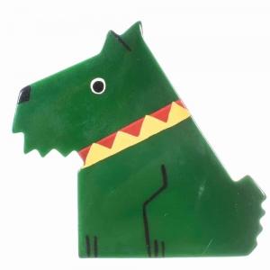broche chien ric vert