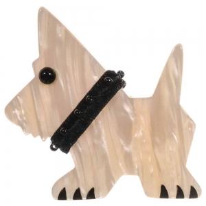 broche chien tamour blanc