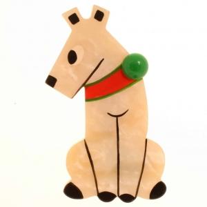 broche chien timide blanc