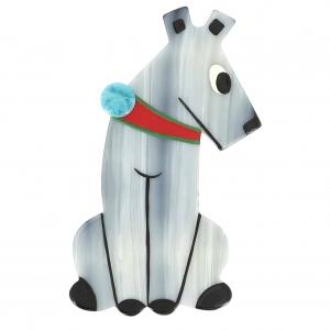 broche chien timide gris blanc