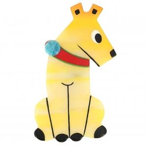 broche chien timide jaune clair