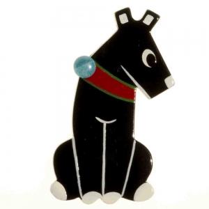 broche chien timide noir