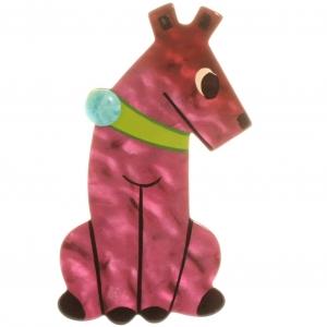 broche chien timide rose
