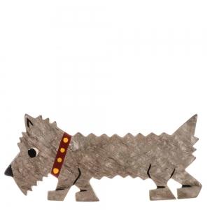 broche chien titane beige