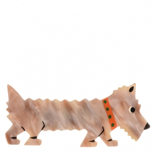 broche chien titane beige clair 1