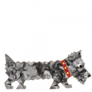 broche chien titane gris marbre