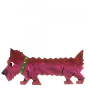 broche chien titane rose fonce