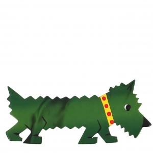 broche chien titane vert