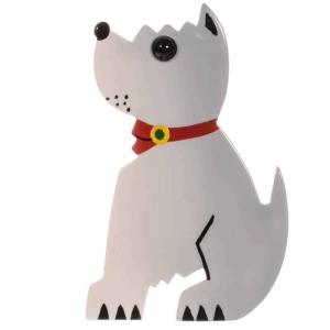 broche chien toy blanc