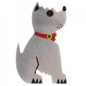broche chien toy gris