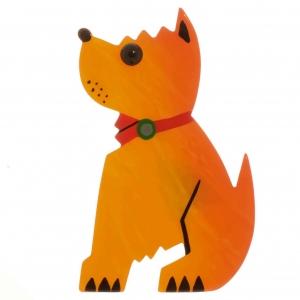 broche chien toy jaune